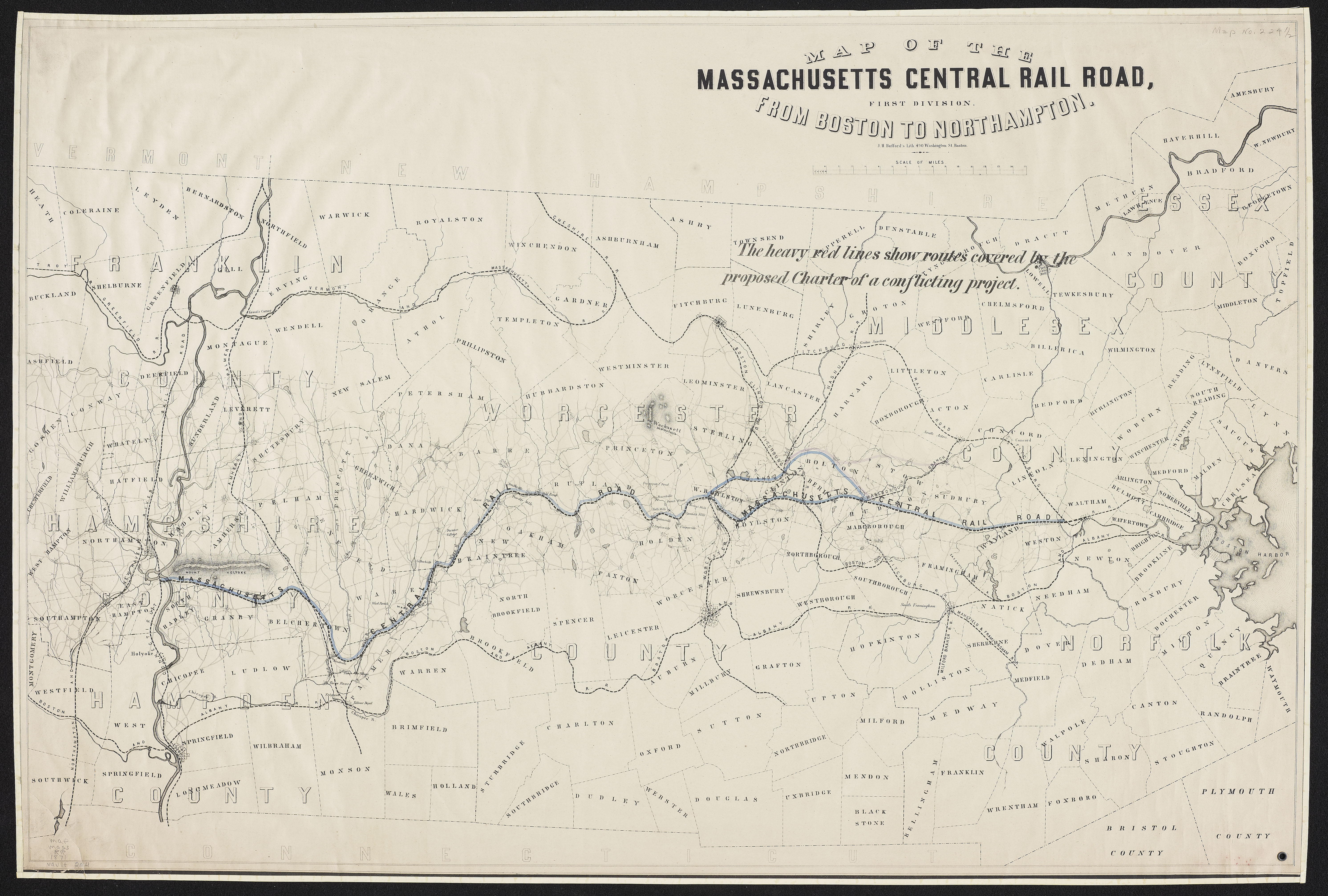 Map Of The Massachusetts Central Railroad From - Map of ma