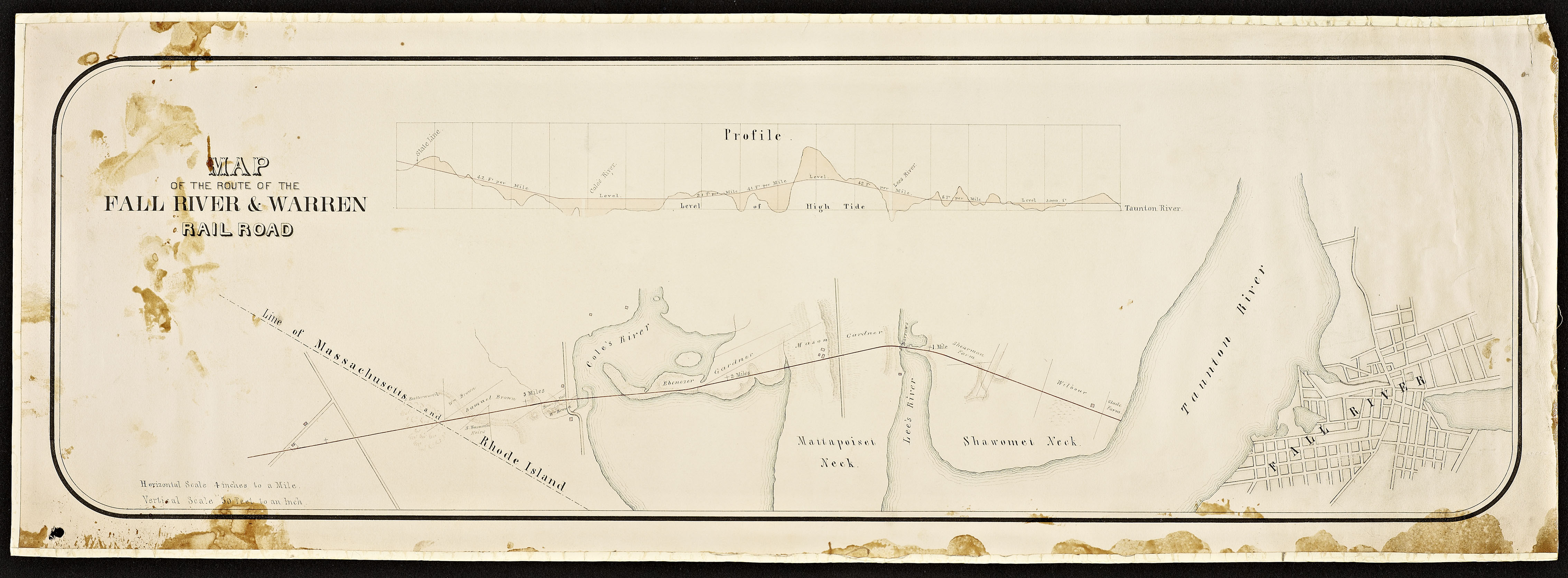 Map of the route of the Fall River & Warren Railroad.